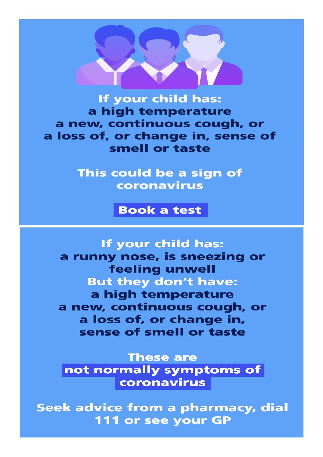 Letter for parents about COVID-19 symptoms