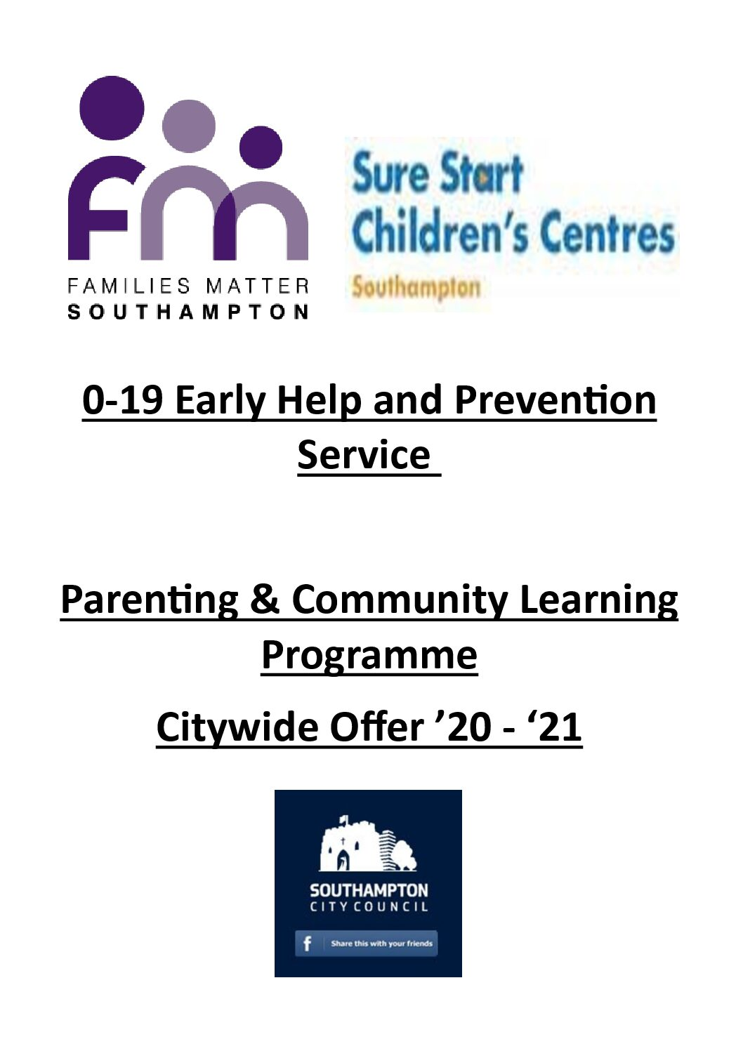 0-19 Early Help and Prevention Service– Parenting & Community Learning Programme